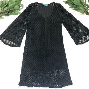 Chasensully || Black Eyelet Bell Sleeve Mini Dress